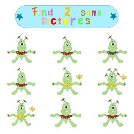 logical: Childrens logical educational educational game Find 2 same image ofaliens