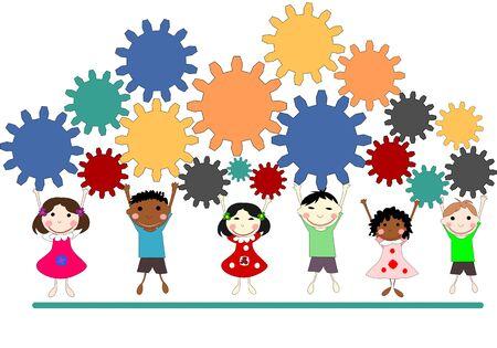 niños de diferentes razas: Children of different races with gears, teamwork concept, illustration Foto de archivo