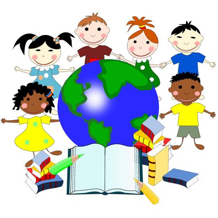 niños de diferentes razas: Children of different races with books and a map of the world, education concept, illustration Foto de archivo