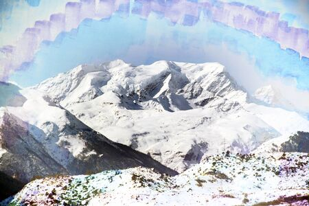exposure: Fantastic mountain landscape with the top watercolor, double exposure effect