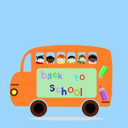 niños diferentes razas: Children of different races ride in the school bus, back to school