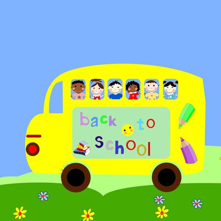 Children of different races ride in the school bus, back to school