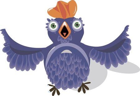 ridicolo: illustrazione, molto stupido uccello ridicolo blu
