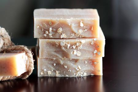 pieces of oatmeal soap Reklamní fotografie