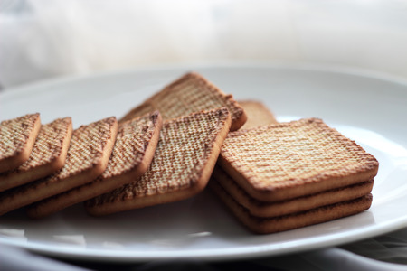 square biscuits on a white plate