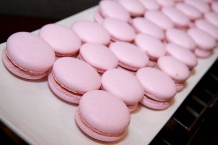 pink macaroon in plate photo