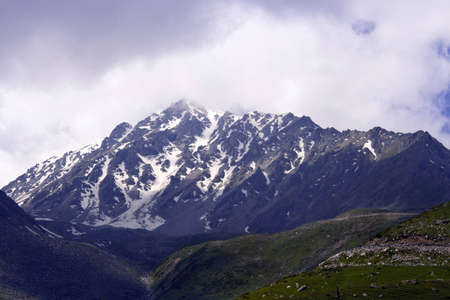 kz: mountains in snow Stock Photo
