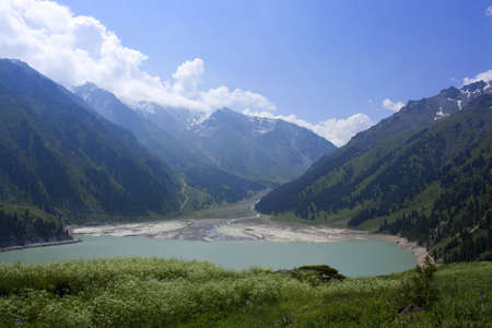 kz: large almaty lake in the mountains