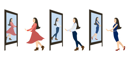 Beautiful style woman. Set Vector illustration. Copy space. Girl looks in the mirror.