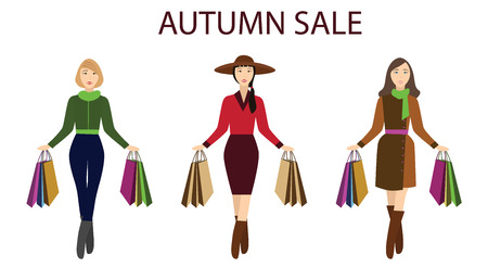 Girls with shopping bags, autumn sale for your design Illustration