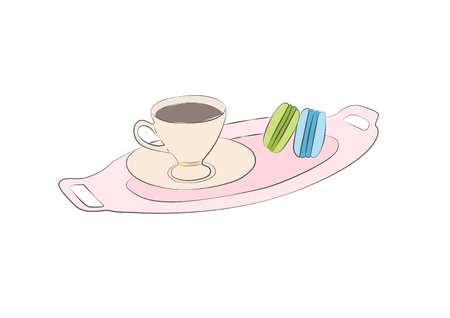 Coffee Macaron Sketch Hand Drawn Icon