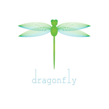 microcosm: Green dragonfly on a white background