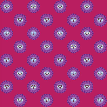 burgundy background: Many purple owls on burgundy background Illustration