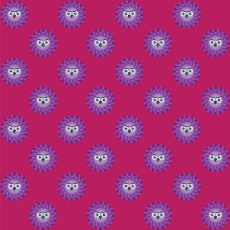 brows: Many purple owls on burgundy background Illustration