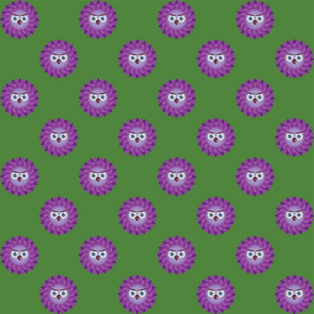 eye brow: Many purple owls on a green background Illustration