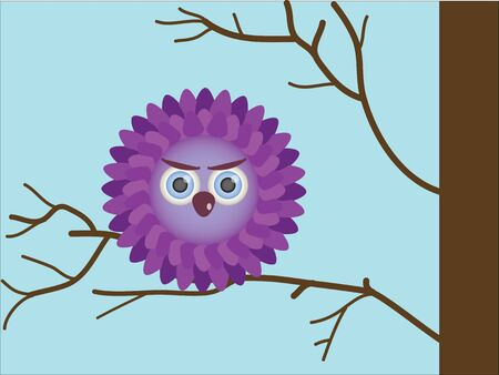 owlet: Purple owlet sitting on a branch Illustration
