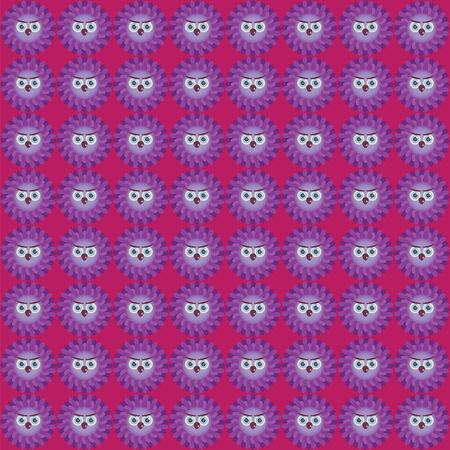burgundy background: Many purple owls on burgundy background Illustration