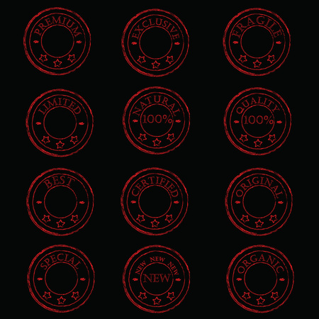 a set of twelve vintage red stamp characterizing the product on a black background