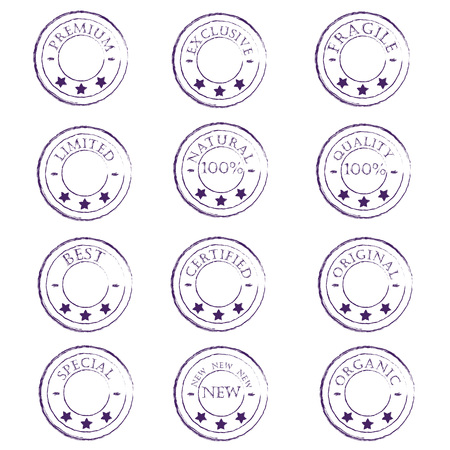 characterize: a set of twelve vintage purple stamps characterize the product on a white background Illustration