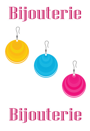 bijouterie: Three earrings yellow, cyan and magenta colors with the words bijouterie