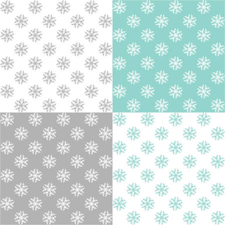four pattern: Four pattern with snowflakes Illustration