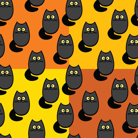 four pattern: Four pattern with black cats on an orange and yellow background Illustration