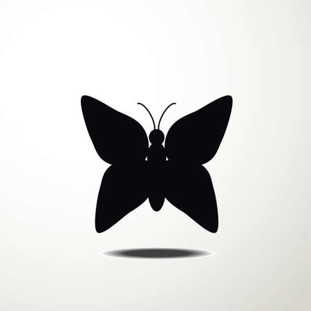 individual color: butterfly icon vector Illustration