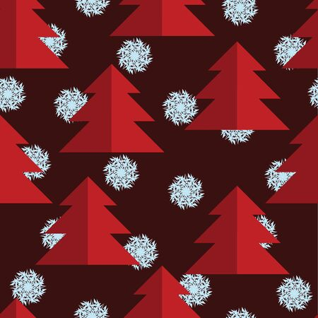 red trees: Seamless pattern with red trees and blue snowflakes. Christmas background. Burgundy background. Background with spruces. Illustration