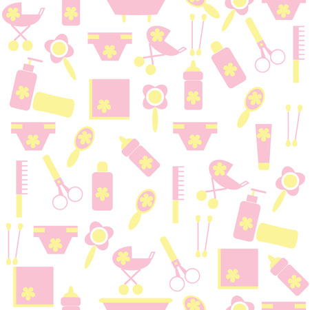 child care: Seamless pattern of children with the means to care for the child. Pink and yellow background for childrens clothes.