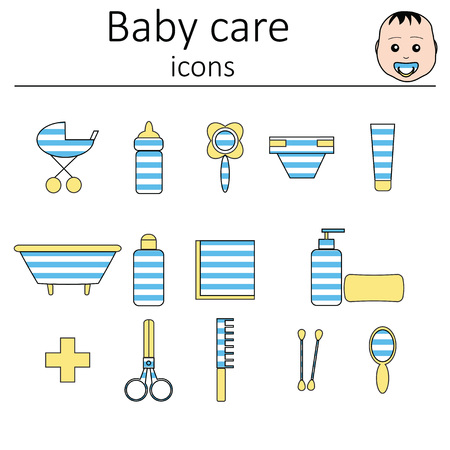 food hygiene: Collection of icons. Baby care. Icons for the care of a newborn baby boy.