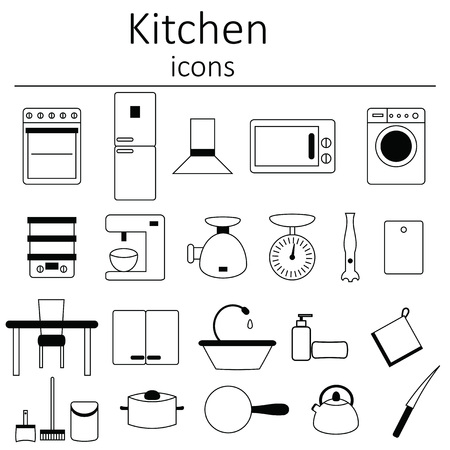kitchen furniture: Collection of icons. Kitchen. Icons from the kitchen. Kitchen furniture, appliances and utensils. Illustration