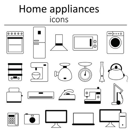 home appliances: Collection of icons. Home appliances. Icon set of home appliances. Illustration