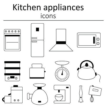 kitchen appliances: Collection of icons. Kitchen appliances. Icon set of kitchen appliances.