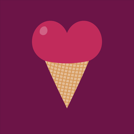 waffle cone: Pink heart in a waffle cone on cherry background. Ice cream in a pink heart. Dessert. Gift your loved ones. Gift on Valentines Day. Valentine.