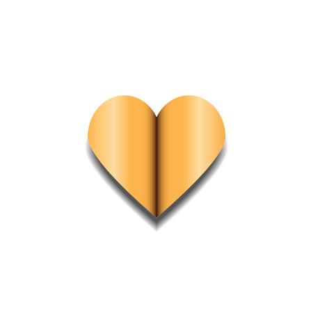 golden heart: Golden heart on white background with shadow. Open heart. Valentine. Festive heart for Valentines Day.