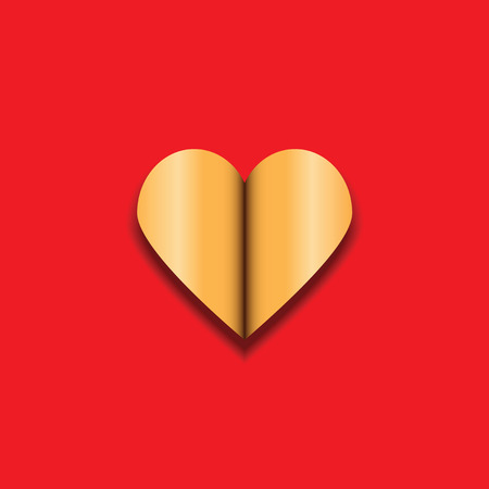 open day: Golden heart on red background with shadow. Open heart. Valentine. Festive heart for Valentines Day. Illustration