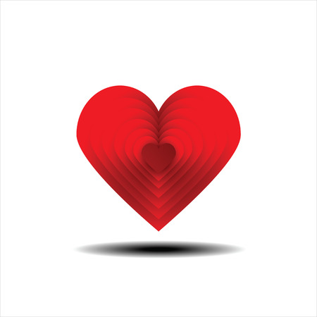 laminated: Red laminated heart. Heart symbol of the day of lovers. Valentines Day.