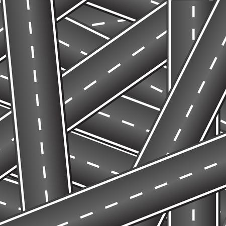 互いに多くの道路が交差します。道路を横断します。交差する道路の背景。
