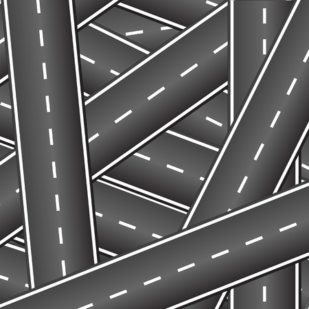 Many roads intersect with each other. Crossing roads. Background of the intersecting roads.
