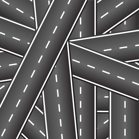 intersecting: Many roads intersect with each other. Crossing roads. Background of the intersecting roads.