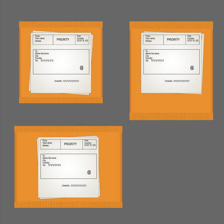 sender: Yellow packaging parcels square and rectangular with the data sender and receiver on a gray background.