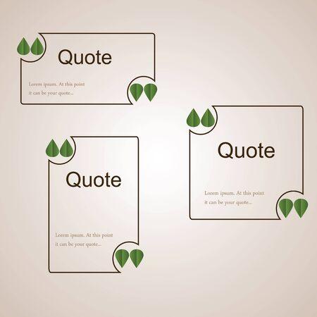 Citar el modelo marrón vacío con hojas de color verde en lugar de comillas. Modelo en blanco para una cotización. plantillas cuadradas y rectangulares para su información el texto.
