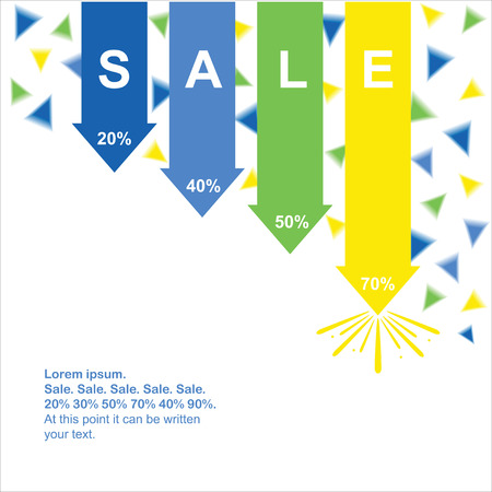 green arrows: Sale background.  Sale poster. Blue, yellow and green arrows with sparks.