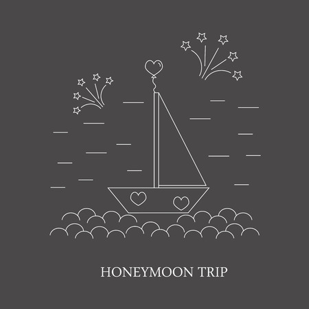 honeymoon: Honeymoon trip. The poster or a banner with the image of the boat with a sail with fireworks and hearts. Image honeymoon for your company.
