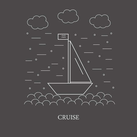 wave tourist: The poster or a banner with the image of the boat with a sail and flag. Image of sea cruises for your company or website.