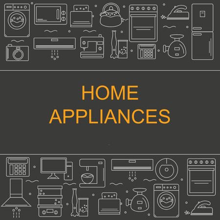 home appliances: Vector illustration of different home appliances. Banner for your company or store.