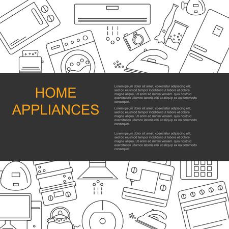 Ilustración vectorial de diferentes electrodomésticos. Banner para su empresa o tienda con espacio para el texto. Ilustración de vector