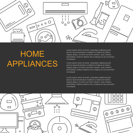 home appliances: Vector illustration of different home appliances. Banner for your company or shop with space for text. Illustration
