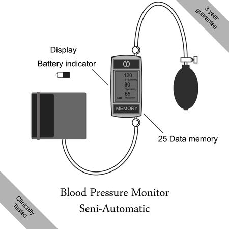 systolic: Pressure gauge on a gray background. Semi-pressure meter style flat. The poster or a banner. Illustration