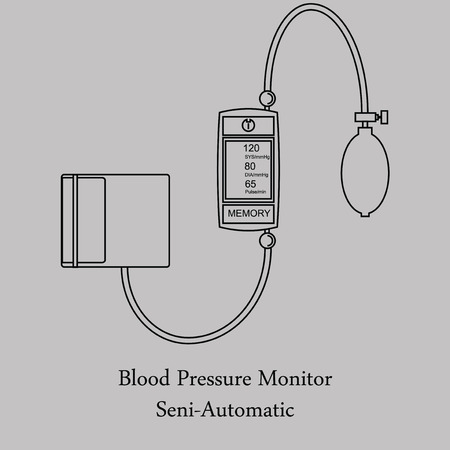 systolic: Pressure gauge on a gray background. Semi-pressure gauge in the style of the line. Illustration